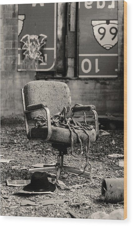 Abandoned Office Chair With Rope - Wood Print from Wallasso - The Wall Art Superstore