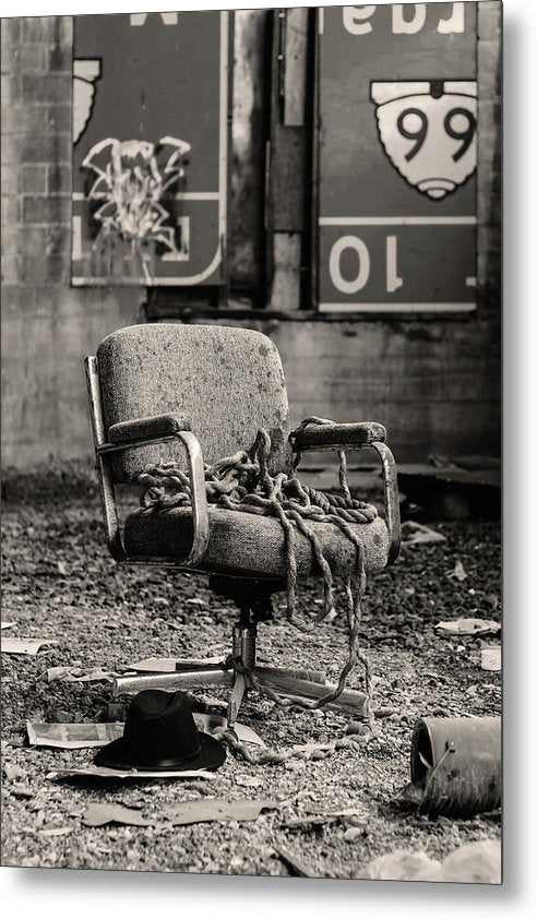 Abandoned Office Chair With Rope - Metal Print from Wallasso - The Wall Art Superstore