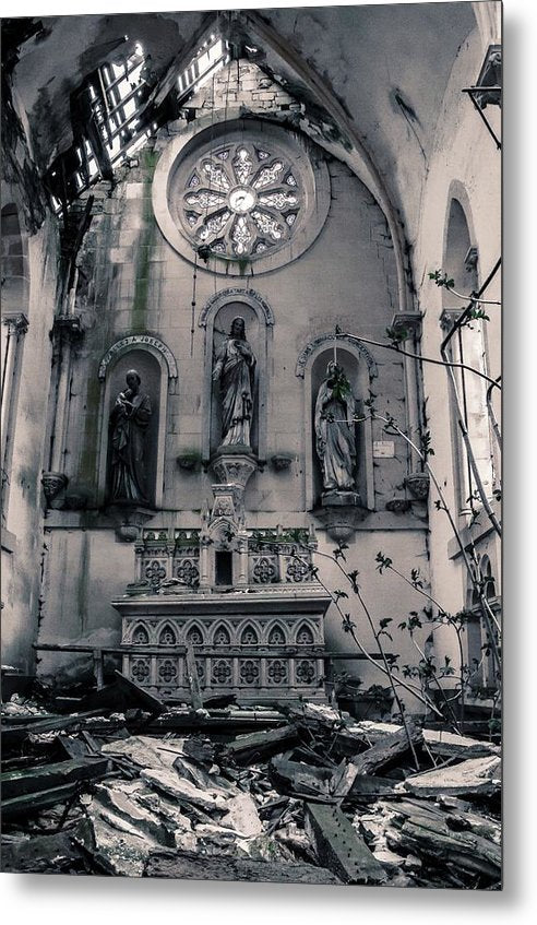 Abandoned Church Altar - Metal Print from Wallasso - The Wall Art Superstore