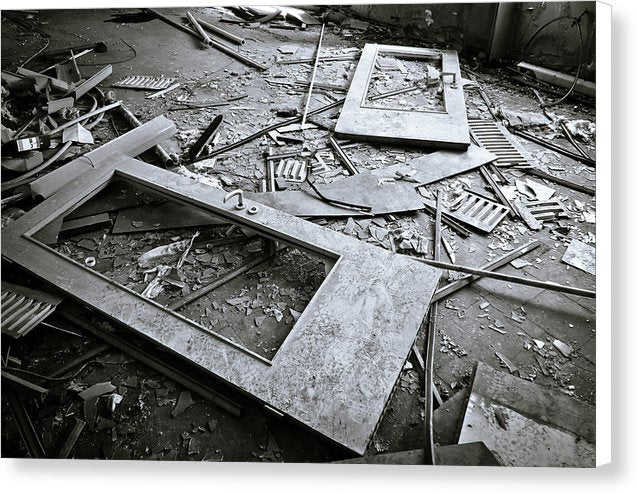 Abandoned Doors and Debris - Canvas Print from Wallasso - The Wall Art Superstore