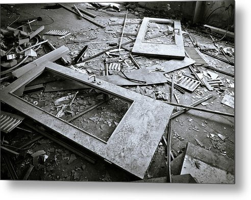 Abandoned Doors and Debris - Metal Print from Wallasso - The Wall Art Superstore