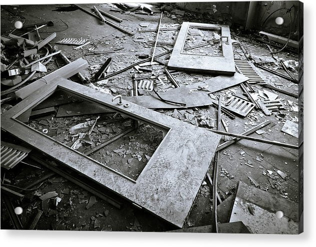 Abandoned Doors and Debris - Acrylic Print from Wallasso - The Wall Art Superstore