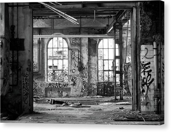 Abandoned Factory Windows - Canvas Print from Wallasso - The Wall Art Superstore