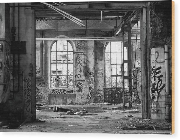Abandoned Factory Windows - Wood Print from Wallasso - The Wall Art Superstore