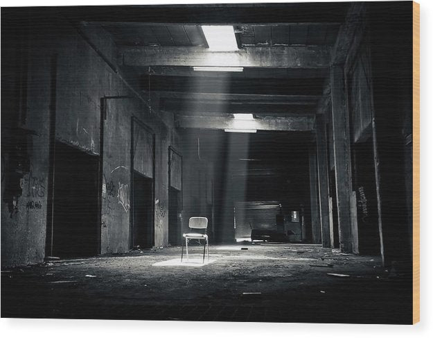 Abandoned Factory With Chair In Spotlight, Black and White - Wood Print from Wallasso - The Wall Art Superstore