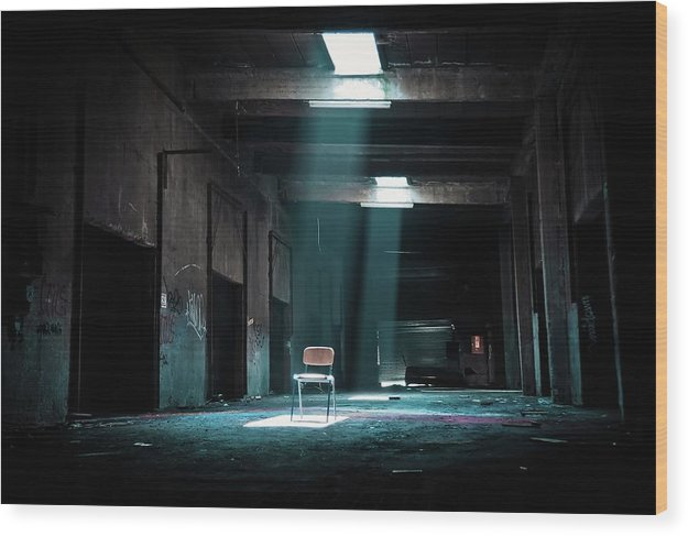 Abandoned Factory With Chair In Spotlight, Color - Wood Print from Wallasso - The Wall Art Superstore