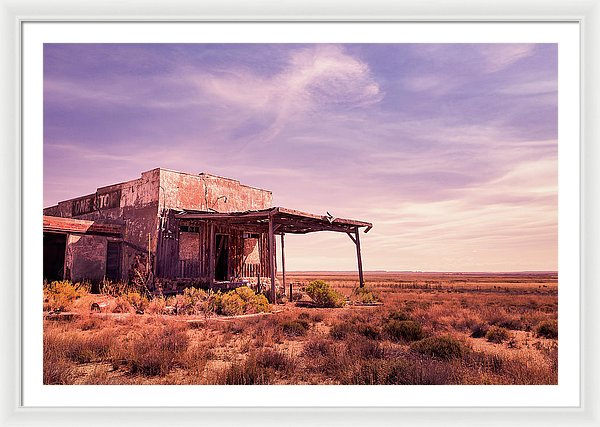 Abandoned Gas Station In Desert - Framed Print from Wallasso - The Wall Art Superstore