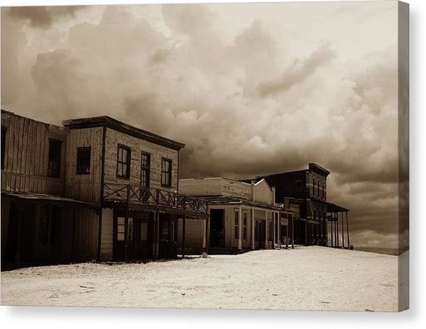 Abandoned Ghost Town With Dramatic Clouds - Canvas Print from Wallasso - The Wall Art Superstore