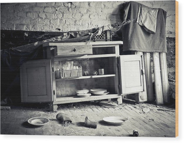 Abandoned Kitchen Hutch - Wood Print from Wallasso - The Wall Art Superstore