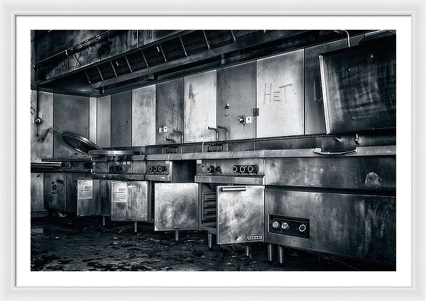 Abandoned Restaurant Kitchen - Framed Print from Wallasso - The Wall Art Superstore