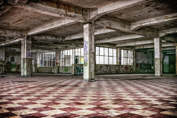 Abandoned Space With Checkered Floor - Art Print from Wallasso - The Wall Art Superstore
