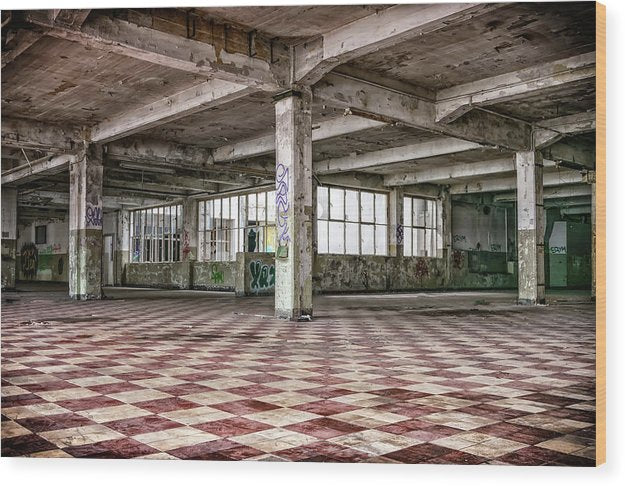 Abandoned Space With Checkered Floor - Wood Print from Wallasso - The Wall Art Superstore