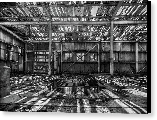 Abandoned Space With Collapsing Wood Roof - Canvas Print from Wallasso - The Wall Art Superstore