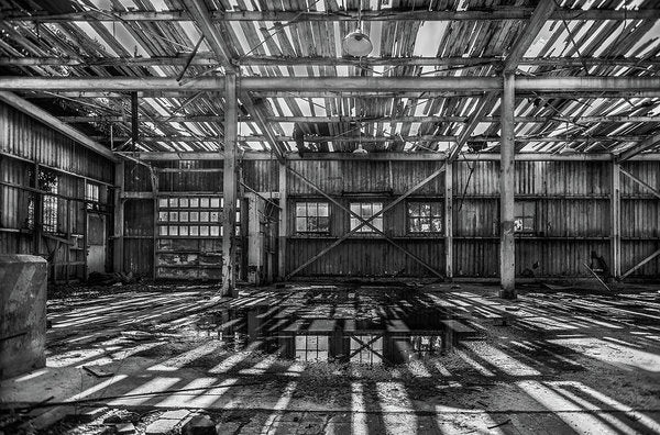 Abandoned Space With Collapsing Wood Roof - Art Print from Wallasso - The Wall Art Superstore