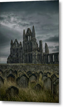 Abandoned Whitby Abbey Church With Tombstones - Metal Print from Wallasso - The Wall Art Superstore