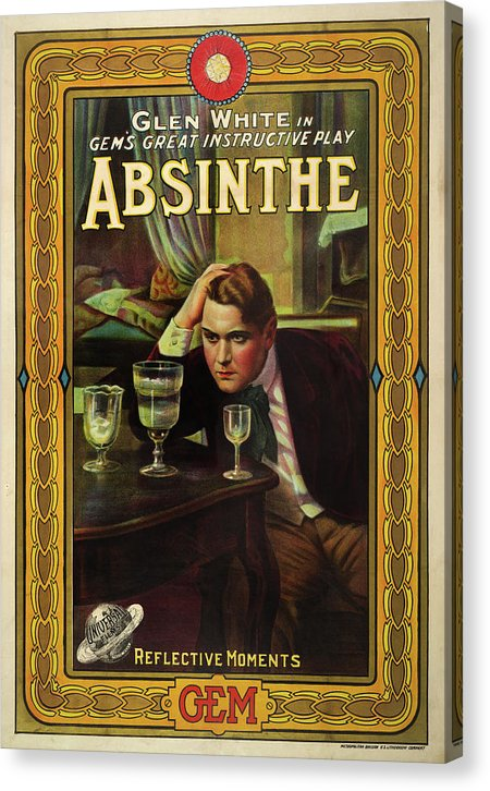 Vintage Absinthe Playbill Poster, 1913 - Canvas Print from Wallasso - The Wall Art Superstore