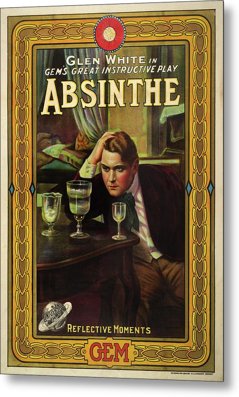 Vintage Absinthe Playbill Poster, 1913 - Metal Print from Wallasso - The Wall Art Superstore