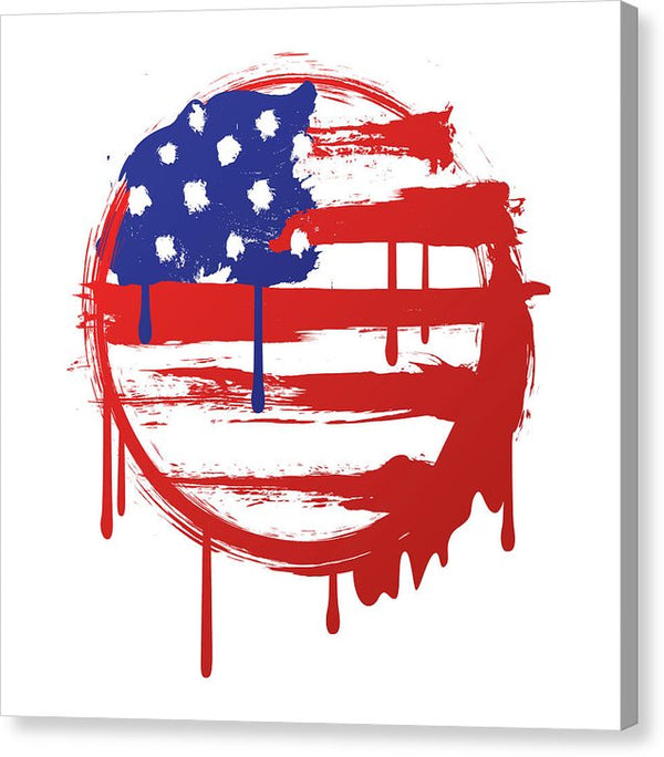 Abstract American Flag Dripping Paint Design - Canvas Print from Wallasso - The Wall Art Superstore