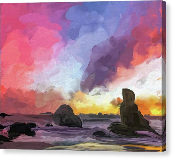 Abstract Beach Sunset Painting - Canvas Print from Wallasso - The Wall Art Superstore