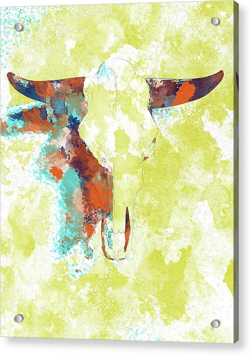 Abstract Cow Skull Watercolor Painting - Acrylic Print from Wallasso - The Wall Art Superstore
