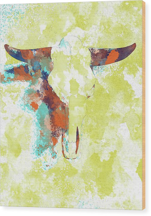 Abstract Cow Skull Watercolor Painting - Wood Print from Wallasso - The Wall Art Superstore