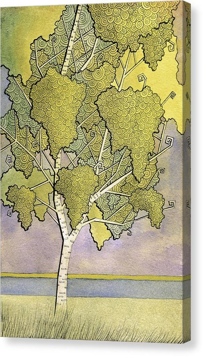 Abstract Illustration Of Birch Tree - Canvas Print from Wallasso - The Wall Art Superstore