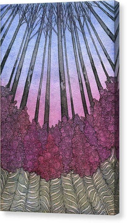 Abstract Illustration of Tree Trunks Looking Up - Canvas Print from Wallasso - The Wall Art Superstore