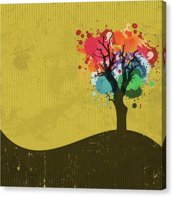 Abstract Paint Splatter Tree On Yellow Background - Canvas Print from Wallasso - The Wall Art Superstore