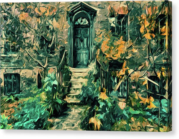 Abstract Painting of Green Stoop and Door - Canvas Print from Wallasso - The Wall Art Superstore