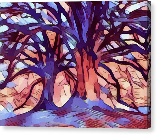 Abstract Painting of Two Trees - Canvas Print from Wallasso - The Wall Art Superstore