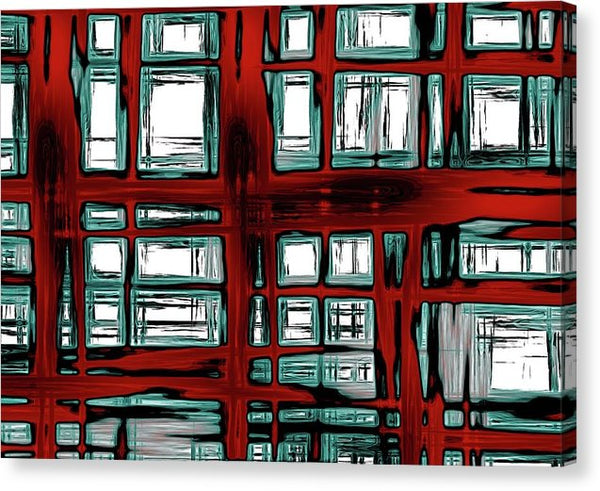 Abstract Red and Blue Windows - Canvas Print from Wallasso - The Wall Art Superstore