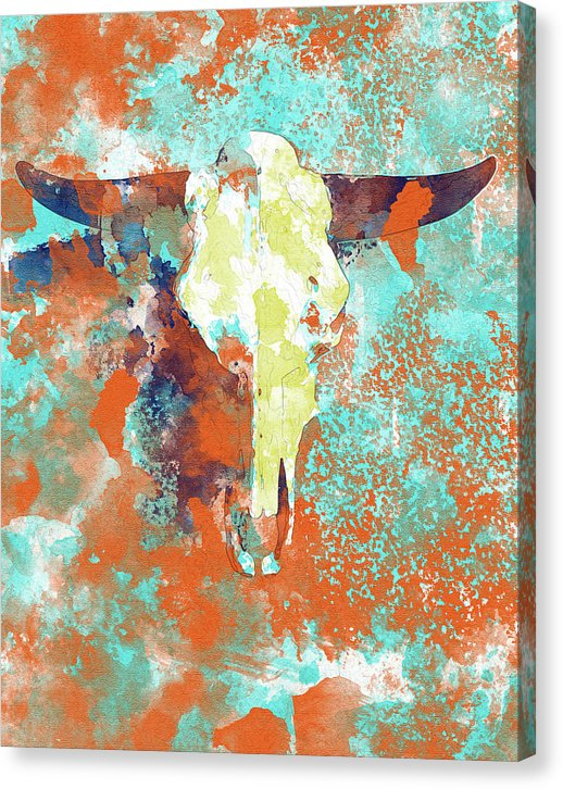 Abstract Watercolor Cow Skull Painting - Canvas Print from Wallasso - The Wall Art Superstore