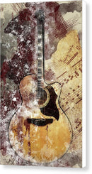 Acoustic Guitar Decoupage Design - Canvas Print from Wallasso - The Wall Art Superstore