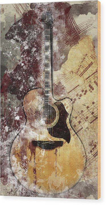Acoustic Guitar Decoupage Design - Wood Print from Wallasso - The Wall Art Superstore