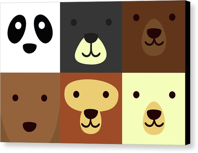 Adorable Bear Faces For Kids - Canvas Print from Wallasso - The Wall Art Superstore