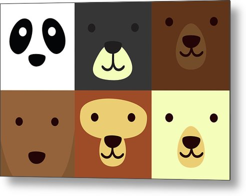 Adorable Bear Faces For Kids - Metal Print from Wallasso - The Wall Art Superstore