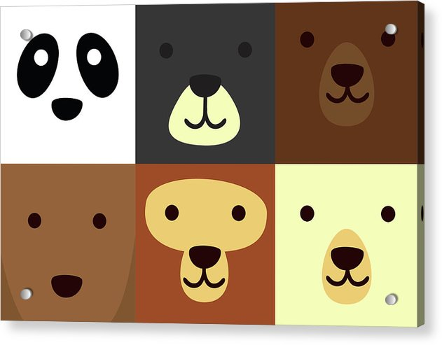 Adorable Bear Faces For Kids - Acrylic Print from Wallasso - The Wall Art Superstore