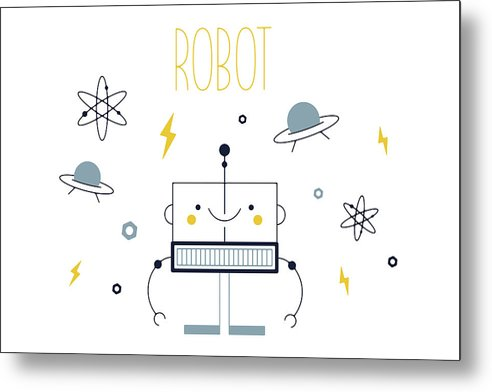 Adorable Robot For Kids - Metal Print from Wallasso - The Wall Art Superstore