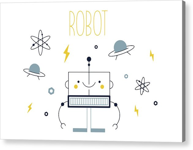 Adorable Robot For Kids - Acrylic Print from Wallasso - The Wall Art Superstore