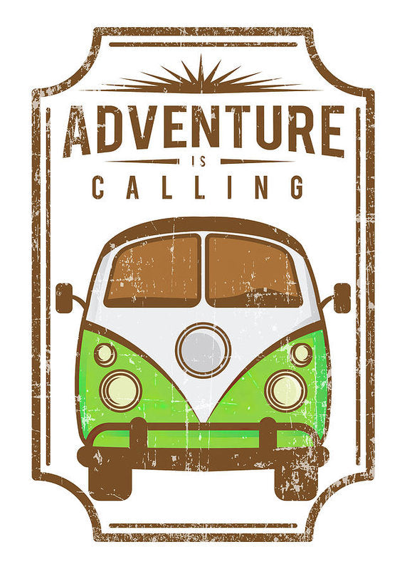 Adventure Is Calling Distressed Volkswagen Bus Sign - Art Print from Wallasso - The Wall Art Superstore