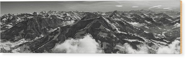 Aerial View of Mountain Tops, Panorama - Wood Print from Wallasso - The Wall Art Superstore