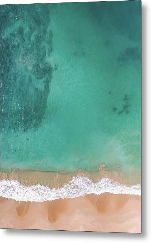 Aerial View of Tropical Beach and Clear Ocean Water - Metal Print from Wallasso - The Wall Art Superstore