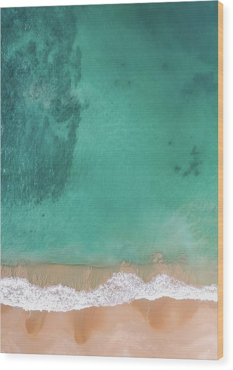 Aerial View of Tropical Beach and Clear Ocean Water - Wood Print from Wallasso - The Wall Art Superstore