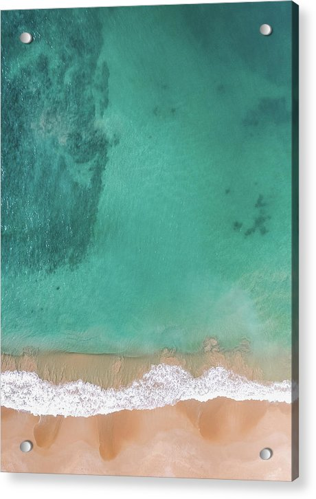 Aerial View of Tropical Beach and Clear Ocean Water - Acrylic Print from Wallasso - The Wall Art Superstore
