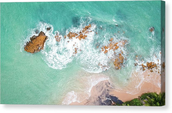 Aerial View of Tropical Beach and Waves - Canvas Print from Wallasso - The Wall Art Superstore