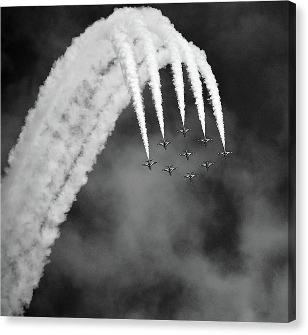 Aerobatic Airplanes In Formation, Black and White - Canvas Print from Wallasso - The Wall Art Superstore