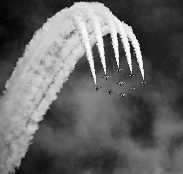Aerobatic Airplanes In Formation, Black and White - Art Print from Wallasso - The Wall Art Superstore