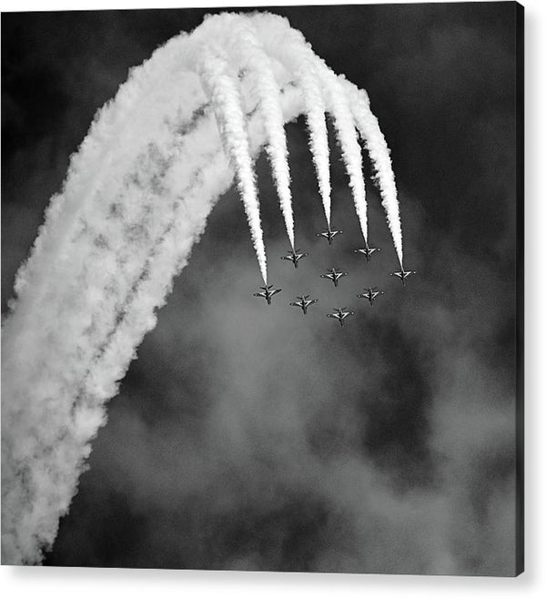 Aerobatic Airplanes In Formation, Black and White - Acrylic Print from Wallasso - The Wall Art Superstore
