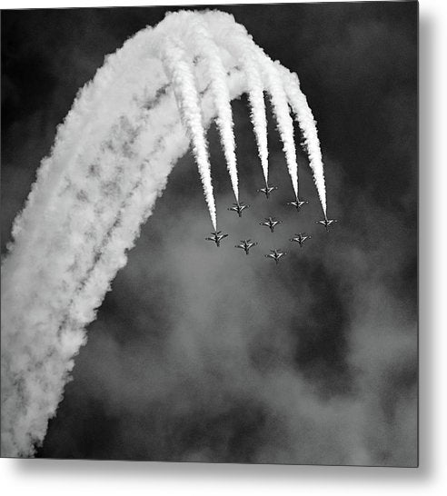 Aerobatic Airplanes In Formation, Black and White - Metal Print from Wallasso - The Wall Art Superstore