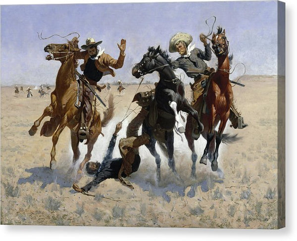Aiding A Comrade by Frederic Remington, 1889 - Canvas Print from Wallasso - The Wall Art Superstore